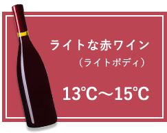 ライトな赤ワイン(ライトボディ):13℃~15℃
